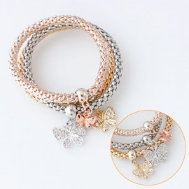 Three-colour Butterfly Alloy Rhinestone Popcorn Chain Stretch Bracelets