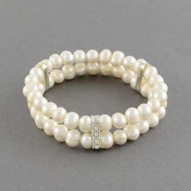 Natural Pearl Stretch Bracelets, with Alloy Rhinestone Bead Spacers, 56mm
