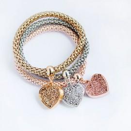 Alloy Stretch Bracelets, Popcorn Chain, Heart