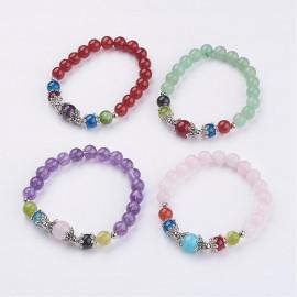 Multi stone/Amethyst Charm Bracelet