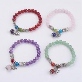Multi stone Rose Qtz/charm Bracelet